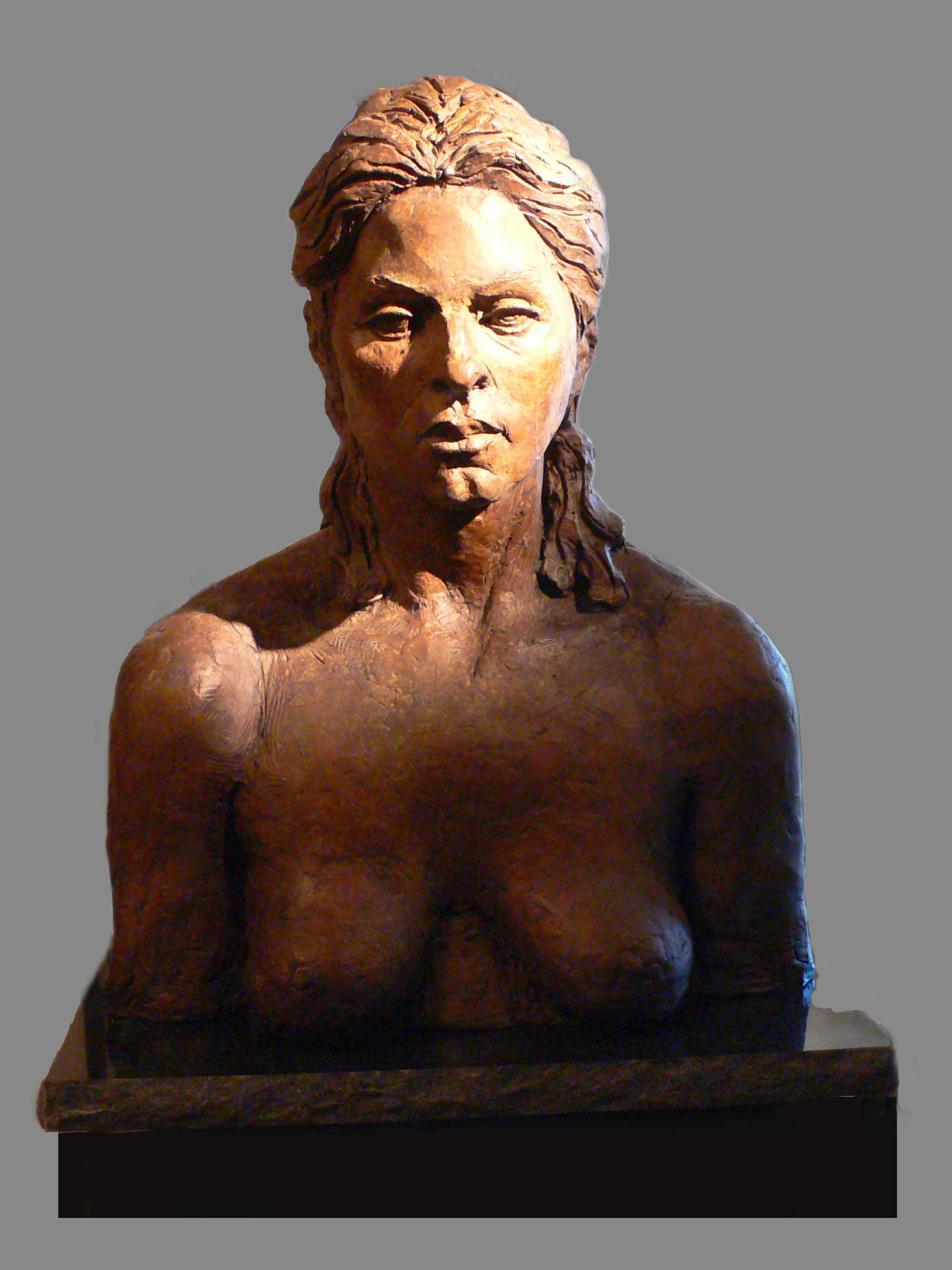 Deep, bronze female torso by Evelyn Floret
