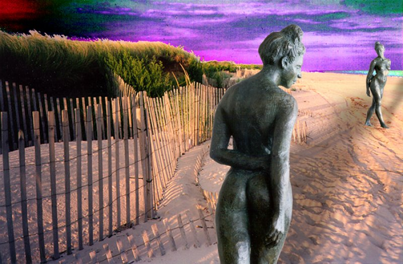 Carmen on the beach, sculpture collage by Evelyn Floret
