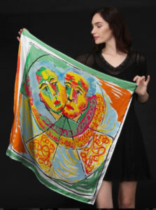 Silk scarf designed by Evelyn Floret