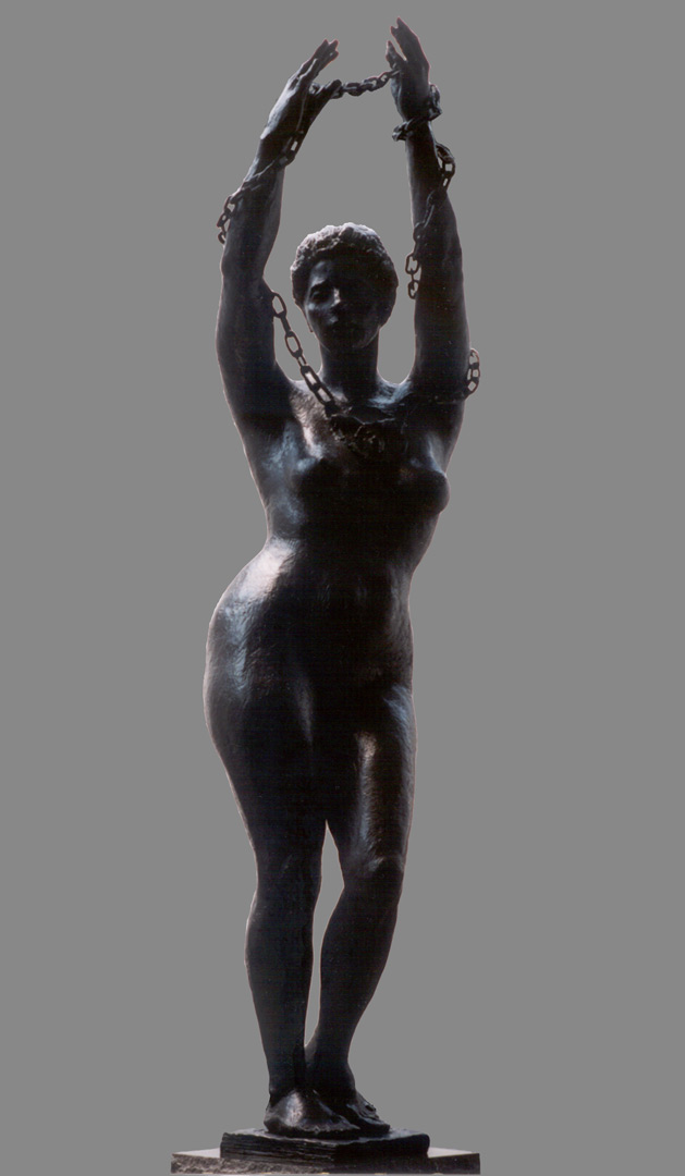 September 11th-bound by sorrow, full-figure bronze female sculpture by Evelyn Floret