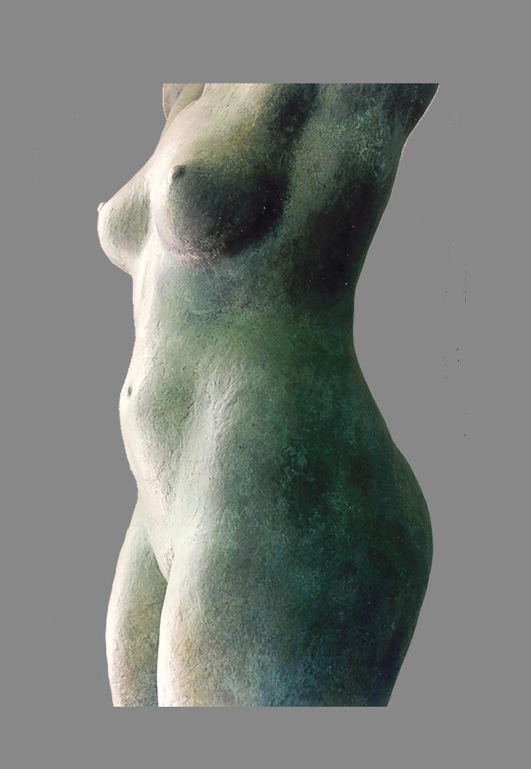 Gia, bronze female torso, sculpture by Evelyn Floret