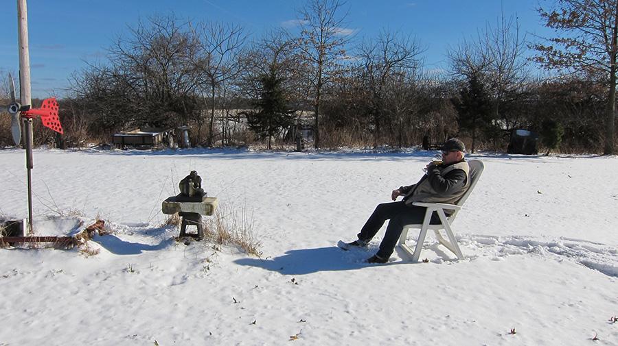Mr Kerrick enjoying Alice on a snowy day