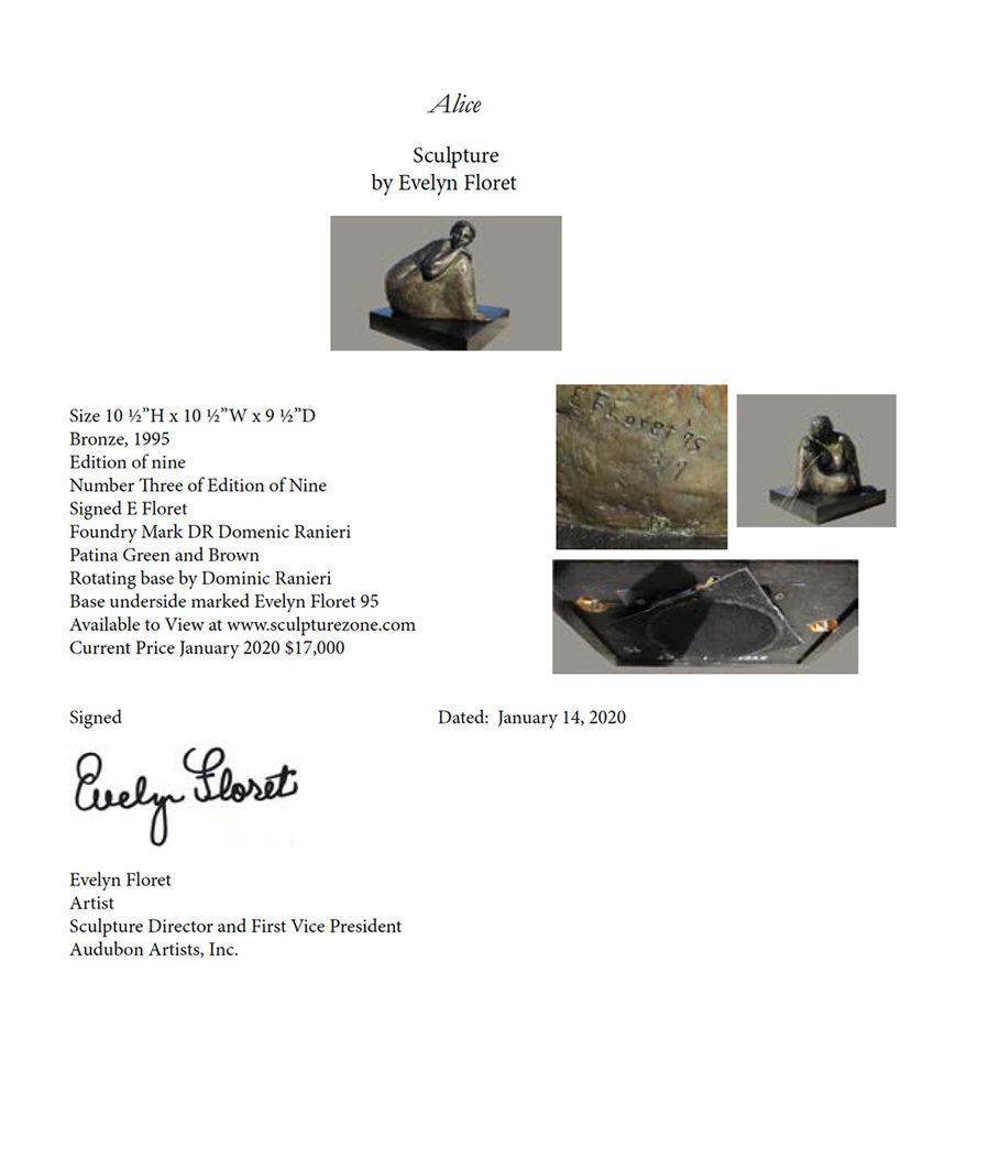 Certificate of Authenticity - Alice, bronze sculpture by Evelyn Floret